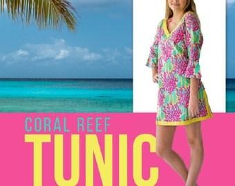 SALE!  MEDIUM Coral Reef Tunic/Swim Coverup