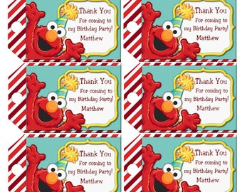 Elmo Favor Tags, INSTANT DOWNLOAD, Elmo Birthday Party Favor Tags Personalized Tags Editable Text
