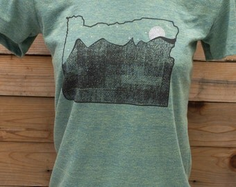 Oregon clothing, mountain print on american apparel poly/cotton blend. color:tri lemon s,m,l,xl free shipping the USA. elevate the day!.