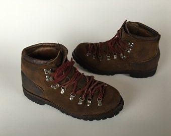 Dexter Hiking Boots Brown Suede Red Laces Men's size 10.5