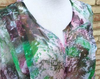 Kimono Cardigan, Purple Pleated Kimono Jacket, Gift for Her, Wedding Kimono, Hippy Boho Kimono, Beach Coverup, Tie Dye Top, Maternity Kimono