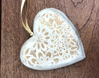 Large wooden vintage style hanging heart ornament on gold satin ribbon
