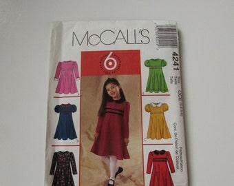 McCall's Girl's Dress Pattern No 4241- Uncut
