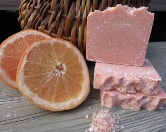 Sea Salt Pink Grapefruit Soap, All Natural Soap, New Hampshire Soap, Handmade Soap, Cold Process Soap, Bath Soap, Bar Soap, Salt Bar