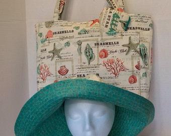 Fun and Colorful Beach Vacation Trio; Sun Hat, Tote and Sun Glasses Case