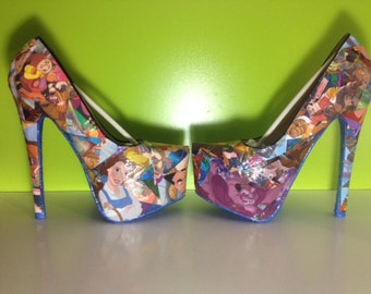 Beauty and the Beast Comic Book Shoes, Disney Heels, Unique and One of a Kind.