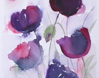 ART Watercolour painting of BLACK POPPIES original art artist Amanda Hawkins 14 x 22cm decorative floral country cottage garden flowers