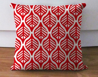 red pillow covers, leaf cushion covers, decorative throw pillow cases, geometric pillow covers, red cushion covers, red throw pillow, 20x20