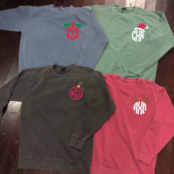 Christmas Monogram or Sorority Comfort Colors Crewneck Sweatshirt with Santa Hat, Reindeer Antlers, Ornament, or Holly