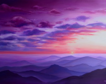 "Sunset Painting ""Violet Sunset"" - Fine Art Print by Emily Luella"