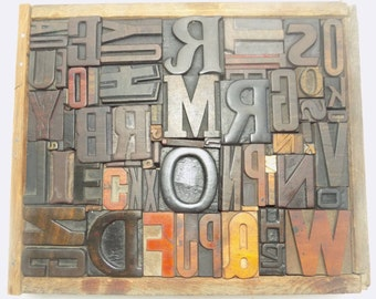 50% Discount 64 Vintage Letterpress Wood Type All Letter in Mix size & mix fonts for decoration, craft and many other use.#Te-21