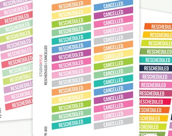Cancelled / Rescheduled Planner Stickers -  Repositionable Matte Vinyl To Suit Erin Condren Life Planner Vertical