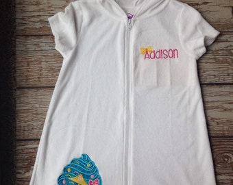 Custom embroidered shopkins inspired swimsuit coverup