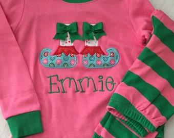 Christmas Pajamas! Pink & Green Stripe! PREORDER!!