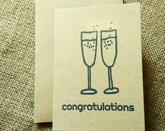 """Champagne """"Congratulations"""" greeting card"""
