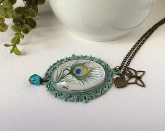 Handmade necklace Peacock feather pendant Shabby chic jewelry handmade necklace Gifts for her