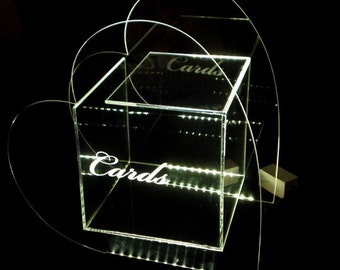 Heart Wedding Card Box --- Glow - Illuminated - personalized with graphic and names