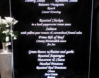Menu Buffett Sign - Wedding - Bar Mitzvahs - Logo/Branding - Event - Glowing - lluminated  - engraved acrylic