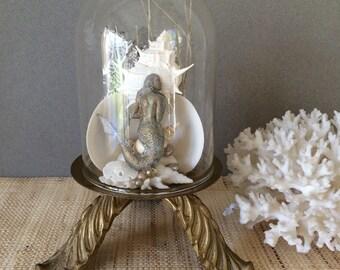 Vintage mermaid   Coastal decor   Mermaid art   Coastal creation   coastal art   Seashell art   beach art   mermaid gift   Shell art
