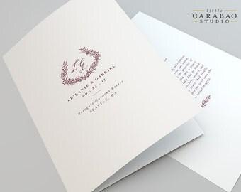 Wedding Program PRINTABLE Folded Wedding Program 8.5x11 DIGITAL Flat Wedding Program 5x7 - Little Carabao Studio - #RW105