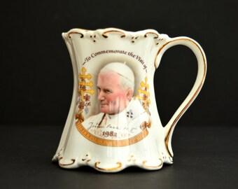1982 Pope John Paul II Mug St George Vintage Mug to Commemorate the Visit of Pope John Paul II Vintage Cup