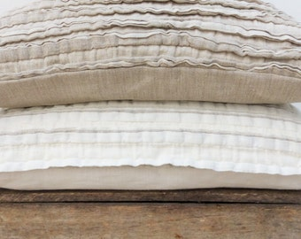 Natural Linen Frill Cushion Cover