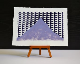 Purple Triangle Mountain Original Oil Painting