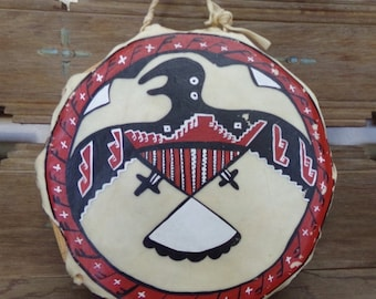 """Hopi Hand Drum Signed """"L - Luck"""" with and arrow [#232 - TR underbed]"""