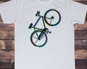 Men's White T-Shirt Colour Vibration Graphical Bicycle Abstract Novelty Print 30-2