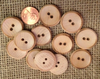 """Lot of 12 Pyrographed Wood Wooden Sew-through Buttons 7/8"""" 23mm # 7315"""