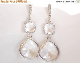 SALE Wedding Jewelry, Silver Clear Earrings, Crystal, Cubic Zirconia, Bridesmaid Jewelry, Bridesmaid Earrings, Bridal Earrings, Dangle,Long,
