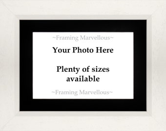 White Wooden Photo Picture Frame - Choose Size and Mount Colour