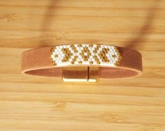 Bracelet Apache gold & white