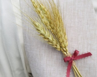 Wheat Bundle Boutonniere for Rustic, Country, or Vintage Wedding