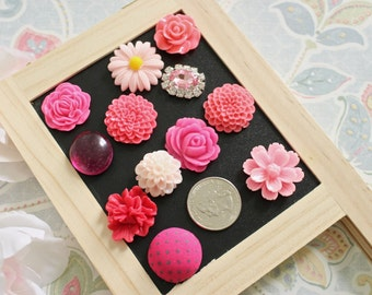 Mixed Pink 12 Piece Flower Magnets, Coral Magnets, Home Magnets, Fridge Magnet, Unique Magnet Set, Magnet Gifts, Button and Rhinestone