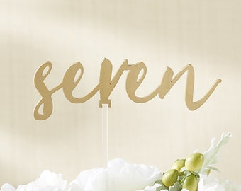 Gold Calligraphy Table Numbers (7-12) Acrylic Matte Script Font Buffet Tables Number Sign Centerpiece Wedding Reception Event Birthday Party