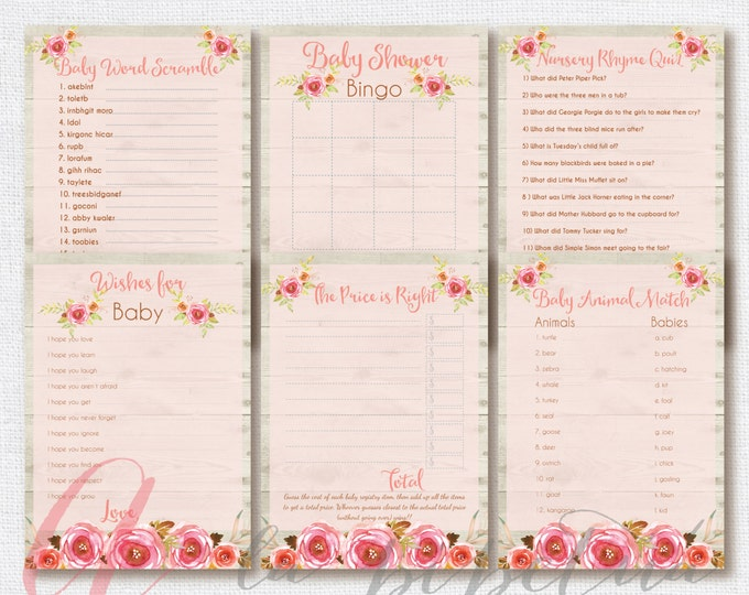 Baby Shower Games. Rustic Babyshower games. Floral shower games. Printable Babyshower games. INSTANT DOWNLOAD