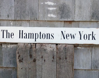 Classic The Hamptons New York sign on rough sawn wood hand-painted distressed rustic