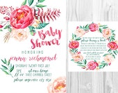 SET** Watercolour Floral Baby Shower Invitation & Book Note Set - Personalised - Printable - Digital File - White Design