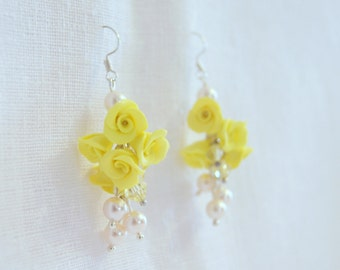 Swarovski and yellow flower earrings yellow handmade flowers