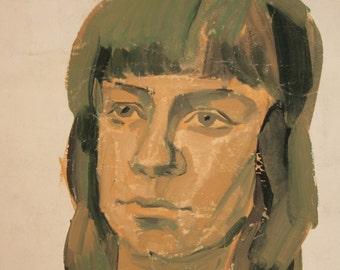 Vintage Expressionist Portrait Gouache Painting