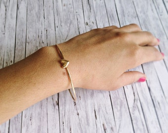 Maid of honor bracelet - Gold Bracelet with heart