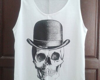 Skull  Women Singlet Tank Top T shirt  Chest 35 ""