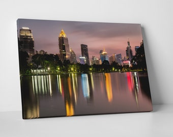 Houston Texas Downtown Skyline Gallery Wrapped Canvas Print
