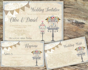 Personalised Rustic Lace & Birdcage/Bunting Dusky Blue Wedding Invitations