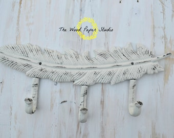 Cast Iron Hook Feather * Shabby Chic* Coat Rack* Southern Rustic Decor *Nursery Decor* Cottage