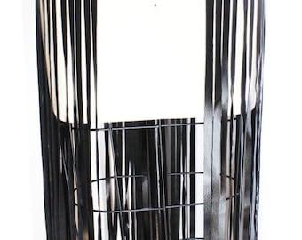 LEATHER FRINGE BELT with studs, long black leather fringe belt, fringe skirt, fringe cuir.