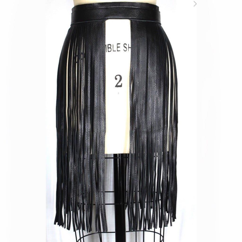 FRINGE BELT long black leather fringe skirt fringe skirt