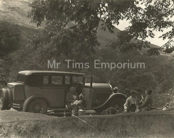 Old Photo, Family picnic with Vintage car, b&w
