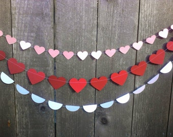 Valentine's Garland Set- heart garland, red pink white heart garland, backdrop, photo prop, valentines garland, valentine decor